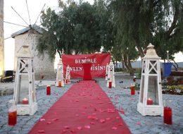 Kırmızı Güllerle Yürüyüş Yolu Süsleme Alaçatı