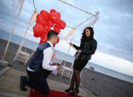 Kumsalda Sürpriz Evlilik Teklifi Organizasyonu Çanakkale
