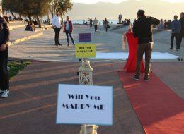 Bostanlı Gün Batımında Evlilik Teklifi Organizasyonu Patricia & Jaka