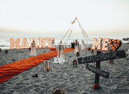 """3D """"Marry Me"""" Işıklı Harflerle Evlilik Teklifi Organizasyonu"""