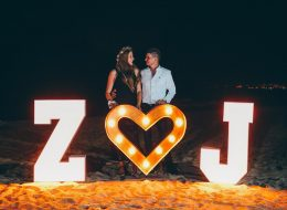 Organization of Proposal on Beach with 3 D letters