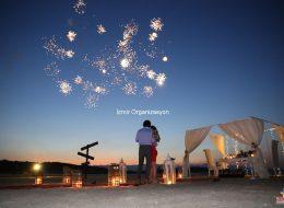 Havai Fişek Gösterisi İstanbul Kumsalda Evlilik Teklifi Organizasyonu