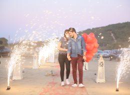 Kuşadası Kumsalda Evlilik Teklifi Organizasyonu Volkan Gösterisi İzmir Organizasyon