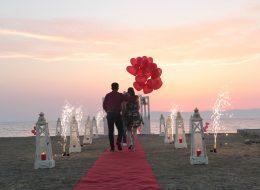 Kumsalda Evlilik Teklifi Organizasyonu Yer Volkanı Gösterisi İzmir Organizasyon